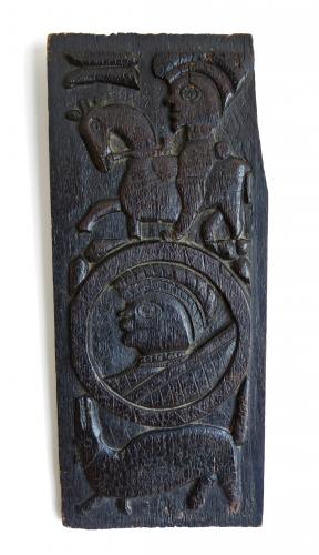 17th Century Oak Horseman Panel