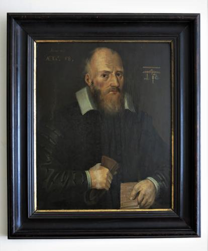 17thC Portrait Of A Master Stone Mason. Oil on Oak Panel