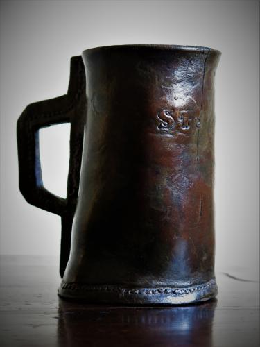 18th Century English Leather Tankard