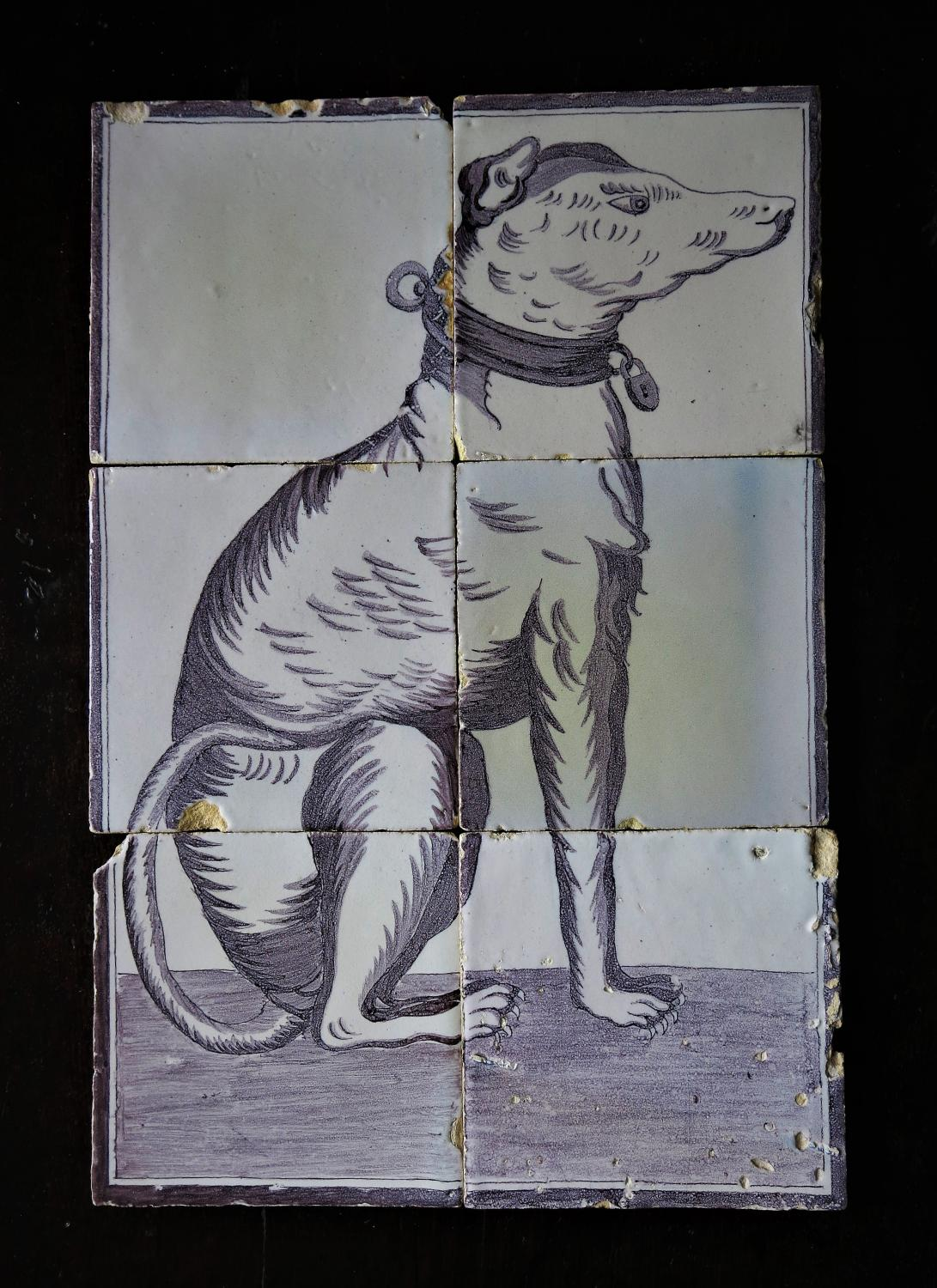 19th century delft mural tiles of a hound archive for Delft tile mural