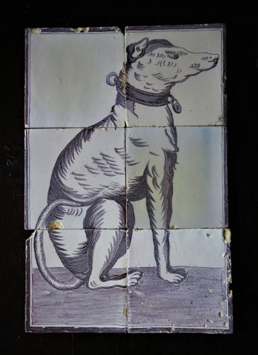 19th Century Delft Mural Tiles Of A Hound