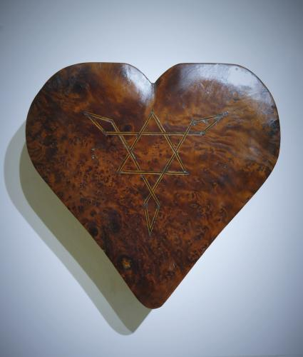 Burr Elm Heart Shaped Box