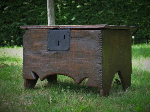 Diminutive 17th Century Oak Boarded Chest