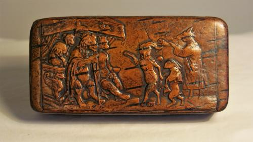 Early19th Century Treen Reynard The Fox Snuff Box