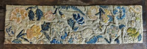 English 17th Century Crewel Work Fragment