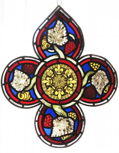 English Lead Glass Quatrefoil panel 16th Century & Later