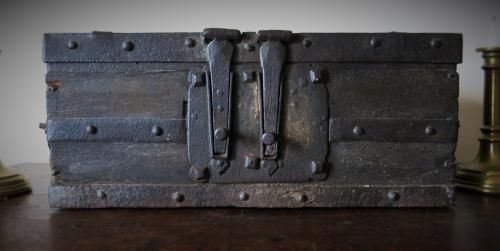 English Medieval Oak & Iron - Bound Casket 15th/16th Century