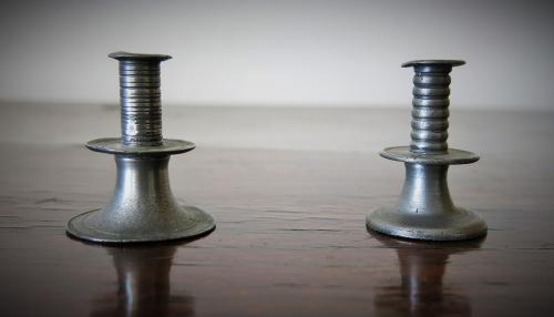 English Miniature Pewter Trumpet Candlesticks