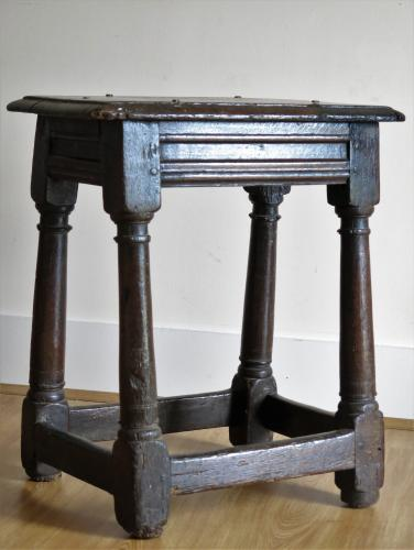 English Oak Joyned Stool 17th Century
