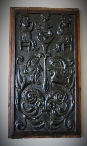 English Oak Marriage Panel 16th Century