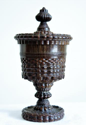 English Rose Engine Turned Lignum Vitae Goblet