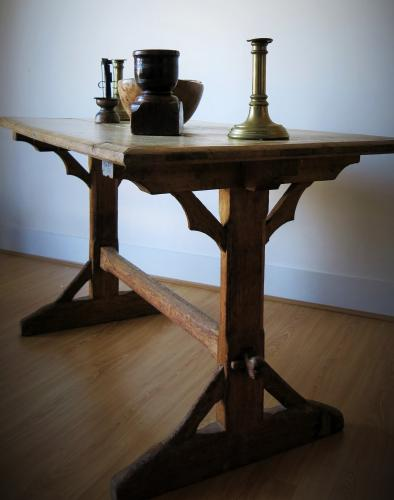 Gothic Oak Trestle Table 19th Century
