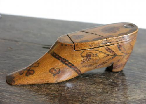 Heart Decorated Snuff Shoe 19th Century