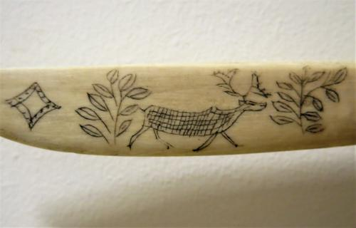 Inuit Art Caribou Jawbone Bone Knife