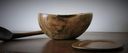 Large Sculptural Figured Dugout Bowl