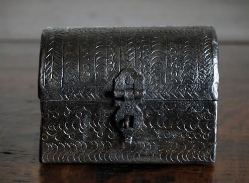 Miniature Decorated Iron Casket 17th Century