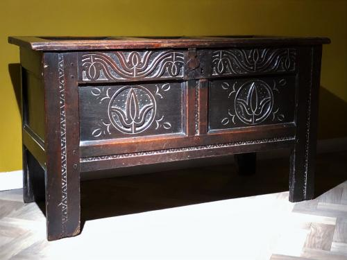 North Country Oak Coffer 17th Century