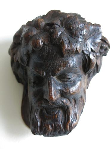 Oak Sculpture Head of Dionysus / Bacchus XVIIth C