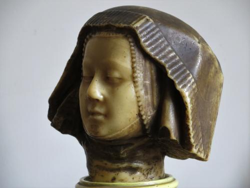Painted Wax Cast Head of Medieval Woman