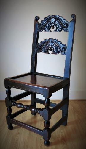 Rare 17th Century Yorkshire Fruitwood & Oak Chair