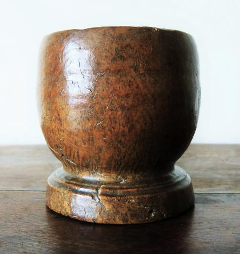Rare Rippled Burr Ash Mortar 18th Century