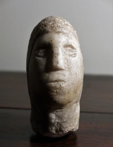 Stone Head Of A Medieval Crusader