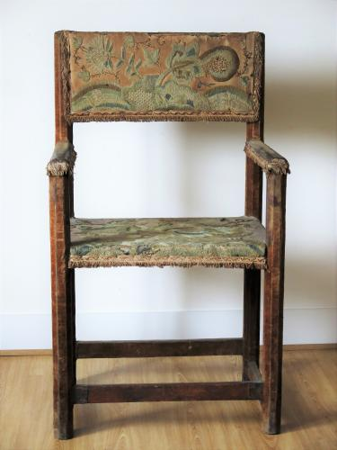 Upholstered Pine Armchair 17th / 18th Century.