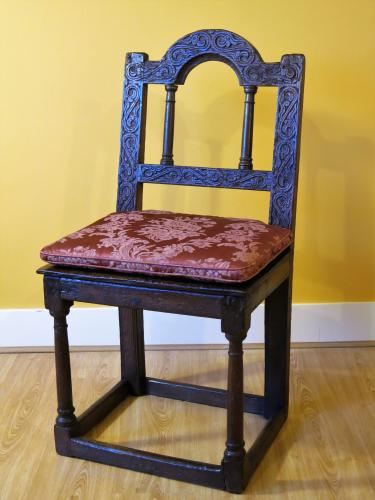 West Country Decorated Oak Back Stool